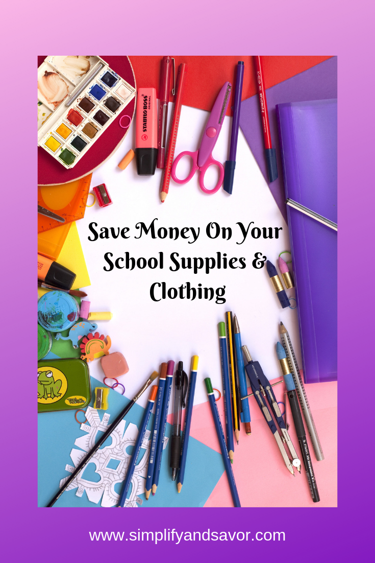 There are many ways to save money on school supplies and clothing. Check out these money saving tips and more life hacks at www.simplifyandsavor.com!