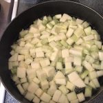 4 cups of zucchini boiling in a pot for 5 minutes.