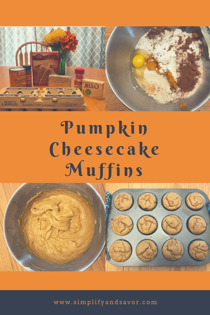 With an orange background there is the 4 pictures that are in the post itself with the text stating Pumpkin Cheesecake Muffins