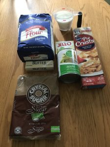 Ingredients for Dutch Apple Cheesecake Pie. SimplifyandSavor.com for the recipe! #applepie #applerecipes #pierecipes