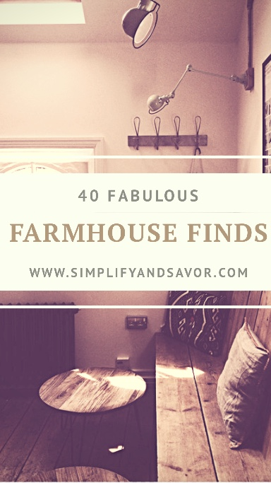 Bench, stool, hanging hooks, farmhouse decor with 40 fabulous farmhouse finds and www.simplifyandsavor.com text