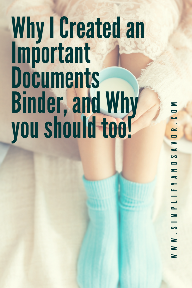 woman with a cup of coffee with text why I created an important documents binder, and why you should too!