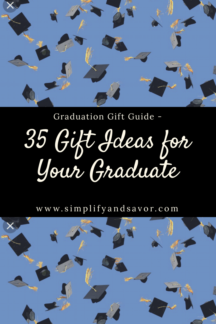 Graduation Caps flying through the air with text stating Graduation Gift Guide - 35 Gift Ideas for your graduate
