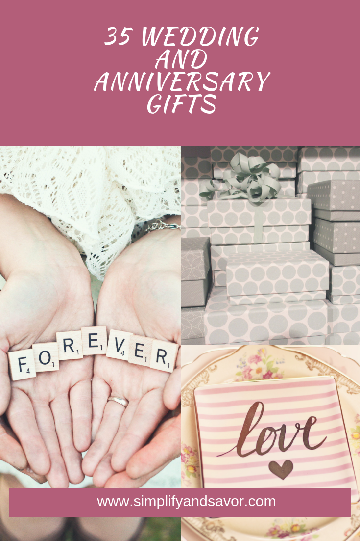 35 Wedding and Anniversary Gifts at the top, a pair of open hands holding scrable pieces that say forever, a tile piece hanging with the word love, and a bunch of gift boxes stacked on top of one another.