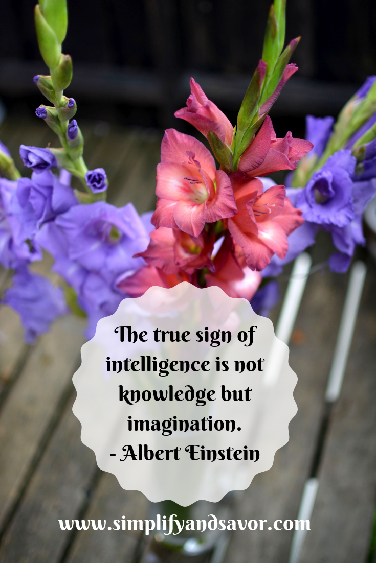 The true sign of intelligence is not knowledge but imagination quote by Albert Einstein over 3 gladiolas one pink and 2 purple in a vase.