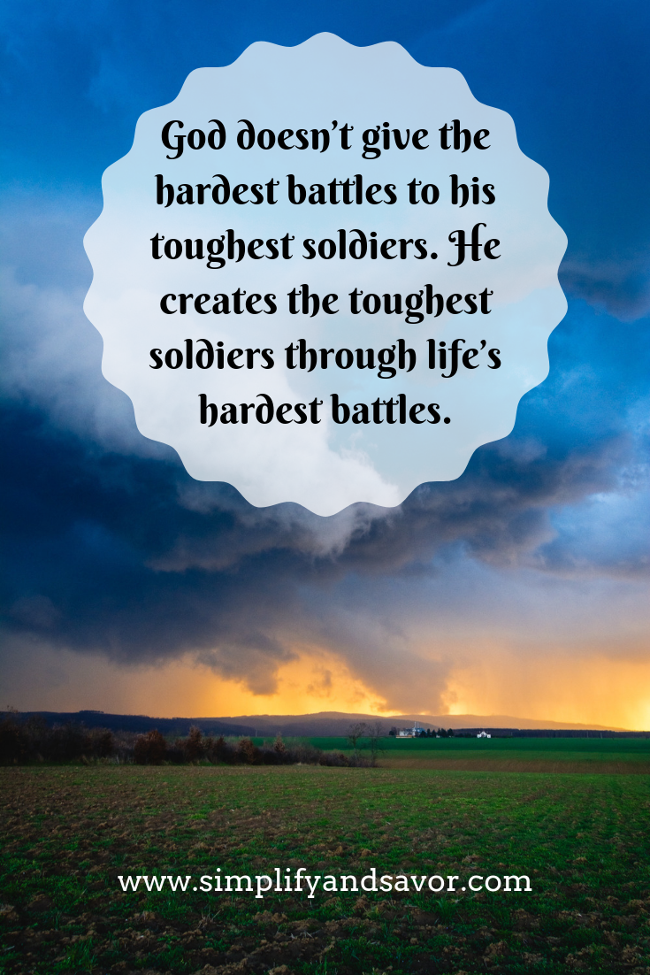 A storm approaching a farm in the distance with the quote God doesn't give the hardest battles to his toughest soldiers. He creates the toughest soldiers through life's hardest battles.
