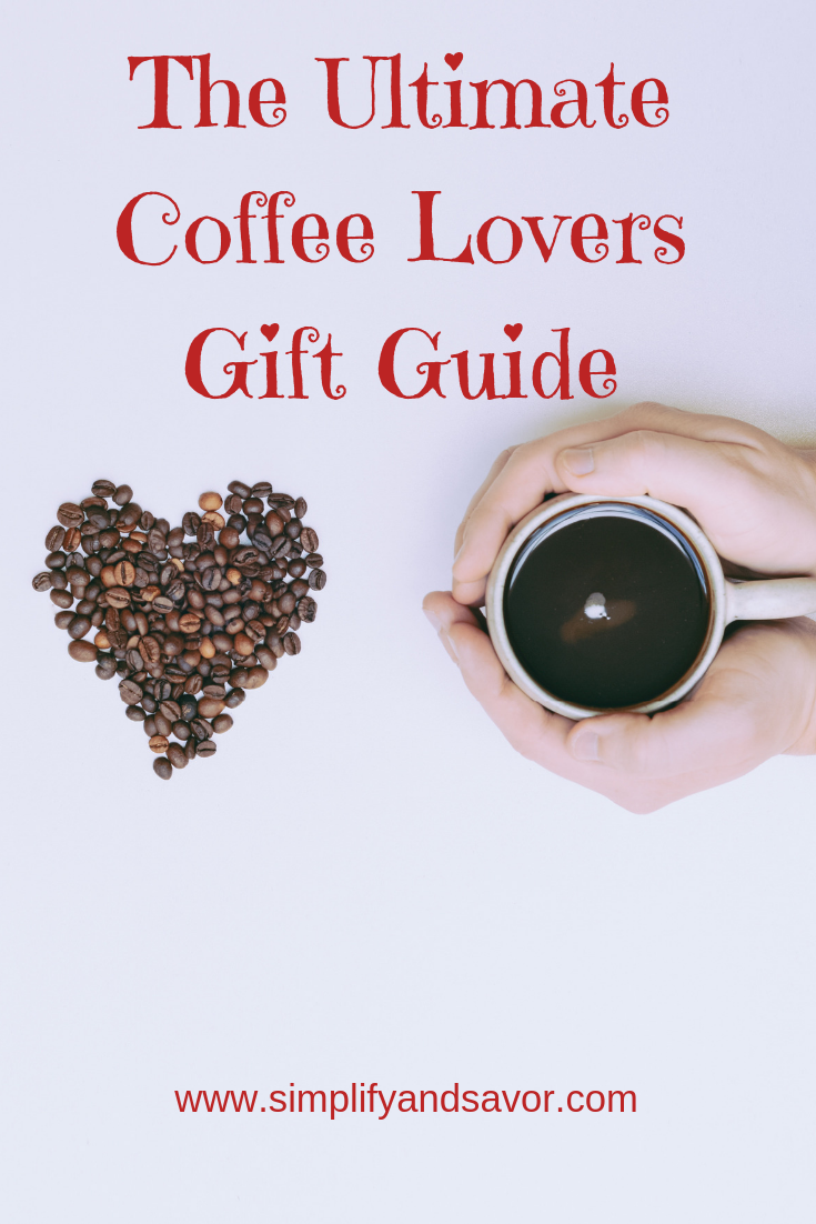 Coffee beans in the shape of a heart next to two hands cupping a cup of coffee. The text above reads The Ultimate Coffee Lovers Gift Guide.