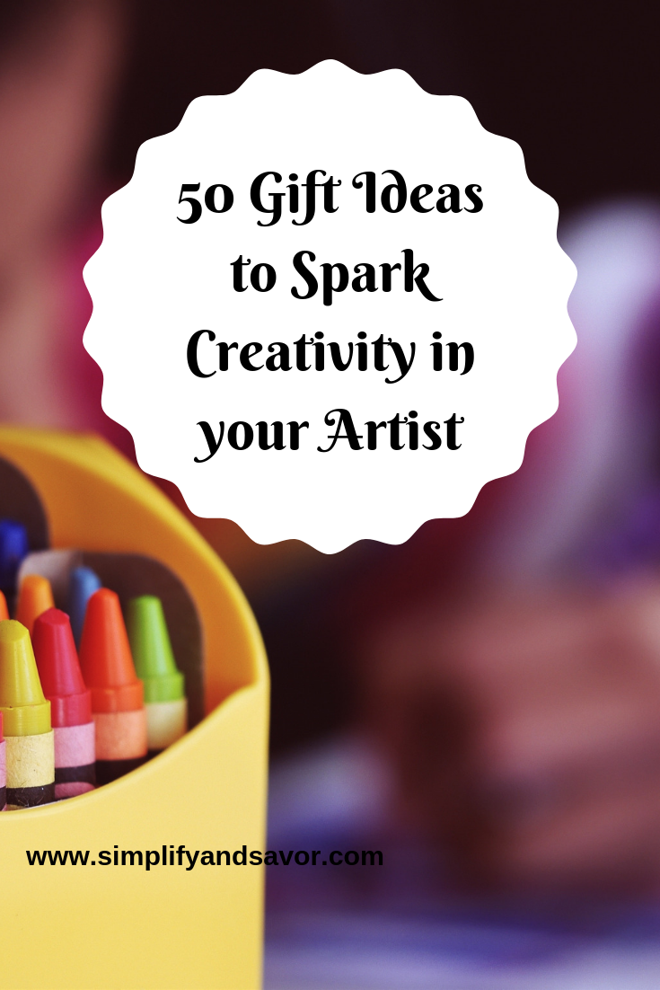 There's a box of crayons and above and to the right of it is the text 50 Gift Ideas to Spark Creativity in your Artist