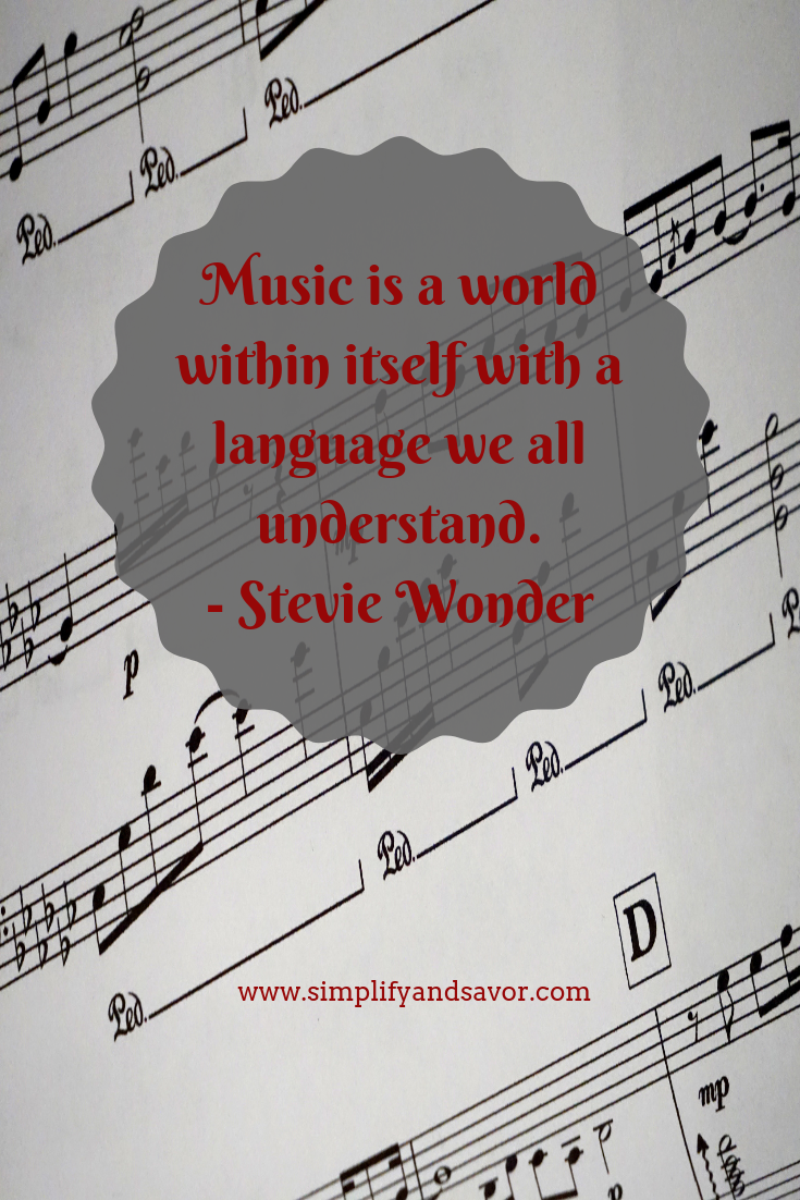 Sheet music with the quote Music is a world within itself with a language we all understand-Stevie Wonder