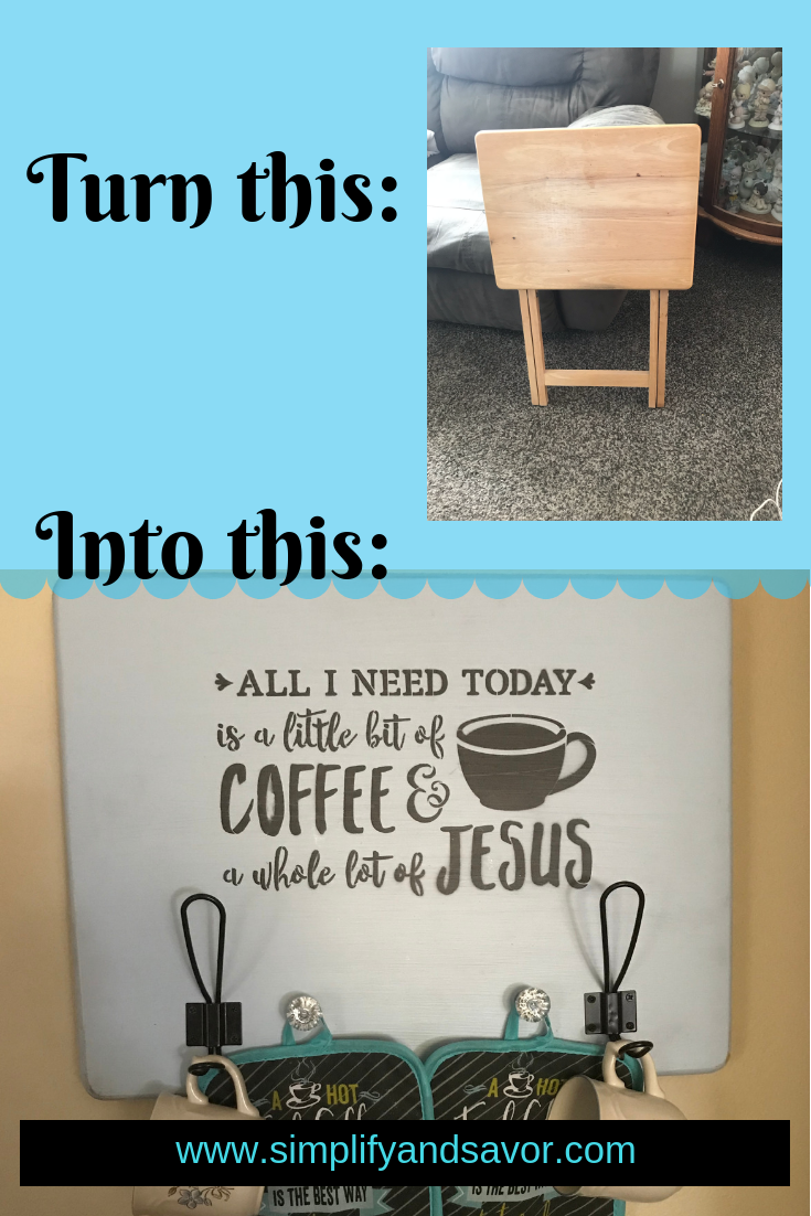 "I am creative, but definitely not a Picasso, so this can certainly be done by anyone. So I will show you step by step how to make this DIY ""All I Need is a Little Bit of Coffee and a Whole Lot of Jesus"" Sign. www.simplifyandsavor.com #coffeebar #farmhousesign #DIYHomeDecor #HomeDecor #InspirationalDecor #coffee"
