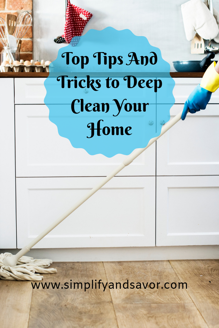 Whether you are spring cleaning, or cleaning after a sickness hits your home, these top tips and tricks to deep cleaning your home will help you refresh your living space anytime. So you can enjoy a freshly cleaned and healthier environment. www.simplifyandsavor.com