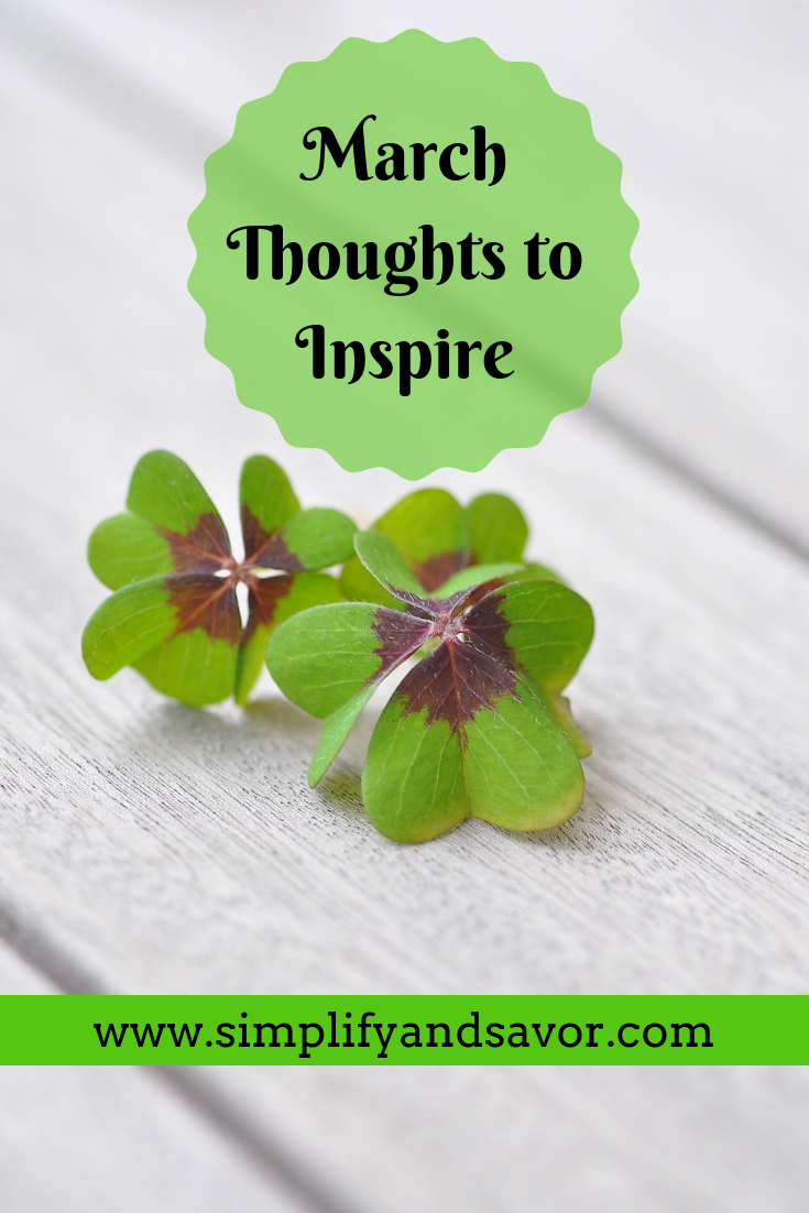 2 shamrocks on whitewashed boards with the text March Thoughts to Inspire