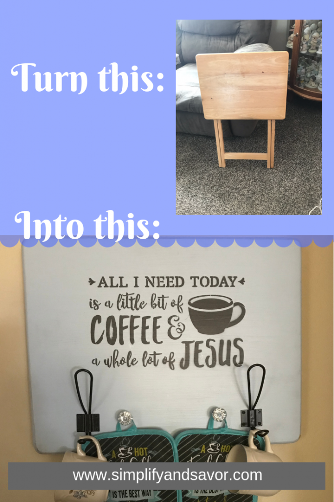 """I am creative, but definitely not a Picasso, so this can certainly be done by anyone. So I will show you step by step how to make this DIY """"All I Need is a Little Bit of Coffee and a Whole Lot of Jesus"""" Sign. www.simplifyandsavor.com #coffeebar #farmhousesign #DIYHomeDecor #HomeDecor #InspirationalDecor #coffee"""