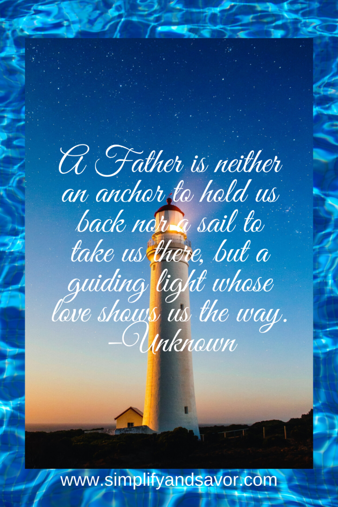 A Father is neither an anchor to hold us back nor a sail to take us there, but a guiding light whose love shows us the way. –Unknown #inspirationalquotes #inspirational #motivationalquotes #quotes #fathersdayquotes #dad #wordsofencouragement
