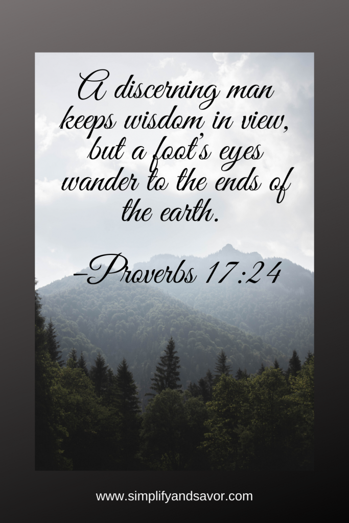 A discerning man keeps wisdom in view, but a foot's eyes wander to the ends of the earth. –Proverbs 17:24 #wordsofencouragement #inspirationalquotes #inspirational #motivationalquotes #quotes #fathersday #fathersdayquotes #dad