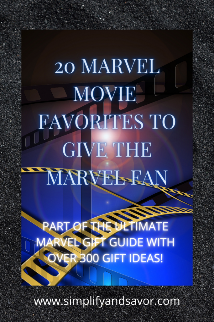 The image contains film as in a movie reel film. The section is Marvel Movie Favorites to Give the Marvel Fan!