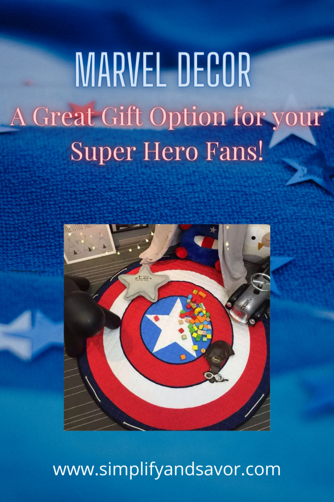 The image is of the Captain America shield as a rug. The image is the section cover for Marvel Decor.