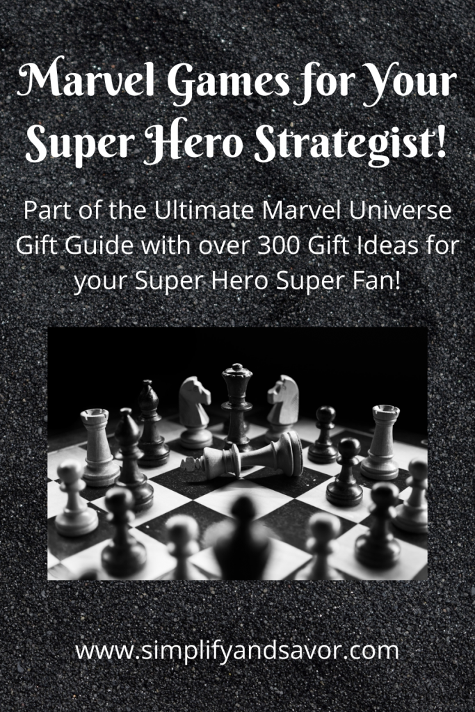 This image is of a chess board. The section is Marvel Games for your Super Hero Strategist!