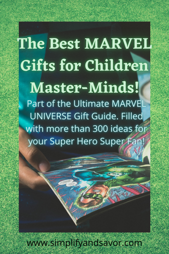 The image is of a child holding a Marvel comic book, the section is the best Marvel Gifts for Children Master-Minds!