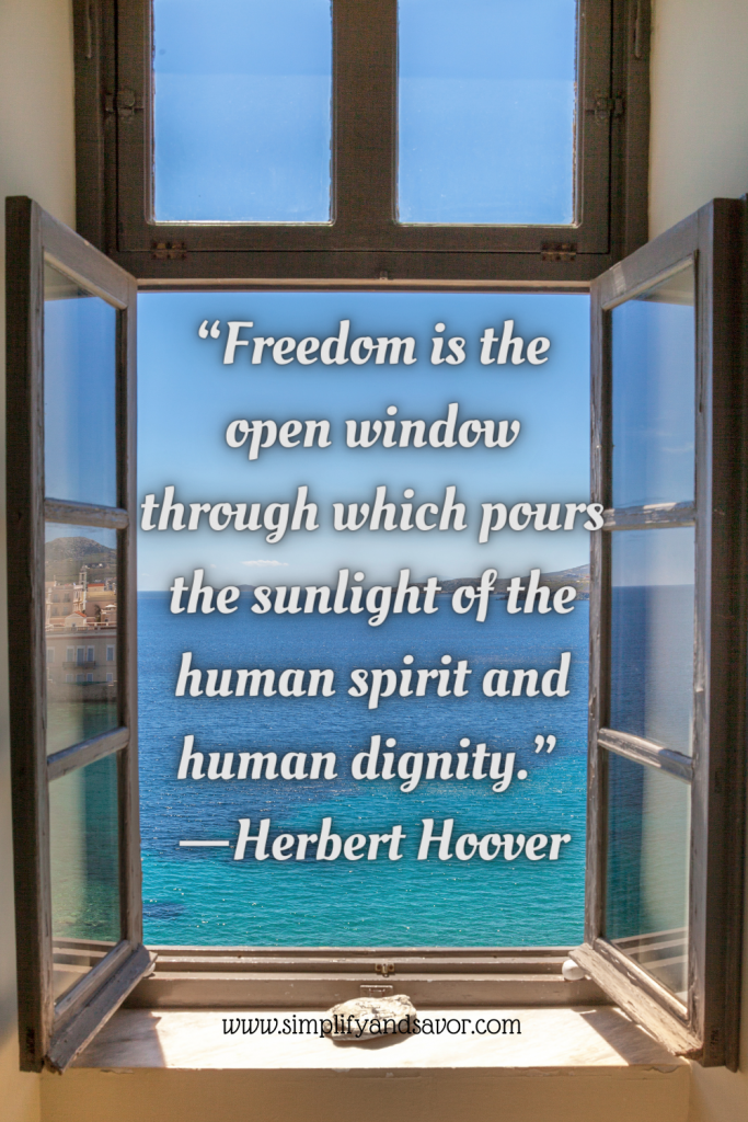 This picture is of an open window from a coastal home overlooking the ocean. In the open window we have the quote. Freedom is the open window through which pours the sunlight of the human spirit and human dignity. By Herbert Hoover.