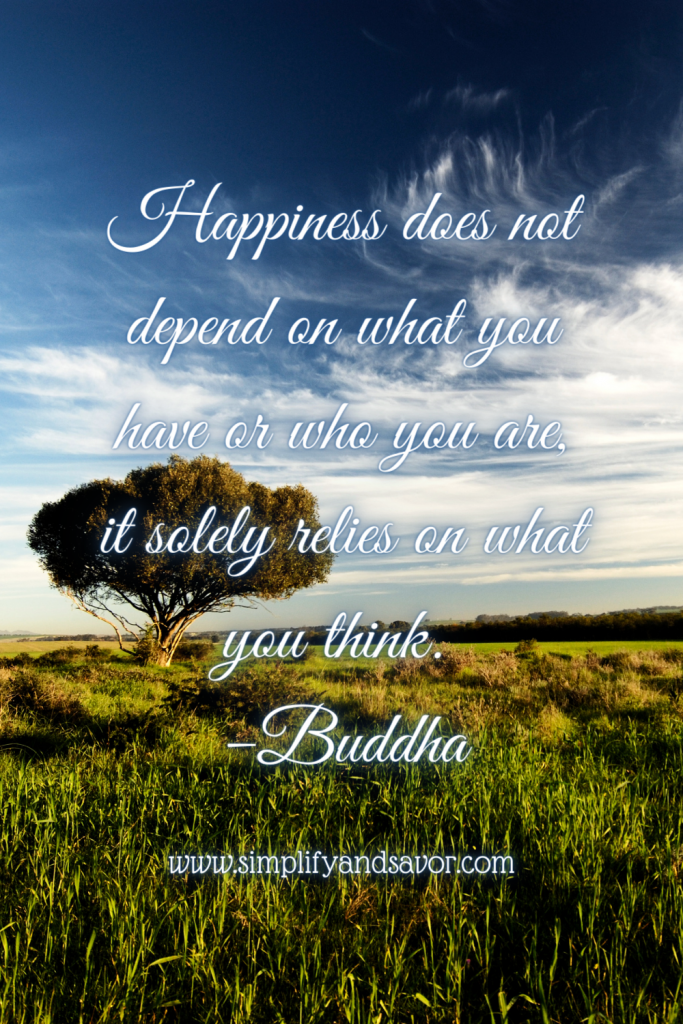Happiness does not depend on what you have or who you are, it solely relies on what you think. -Buddha