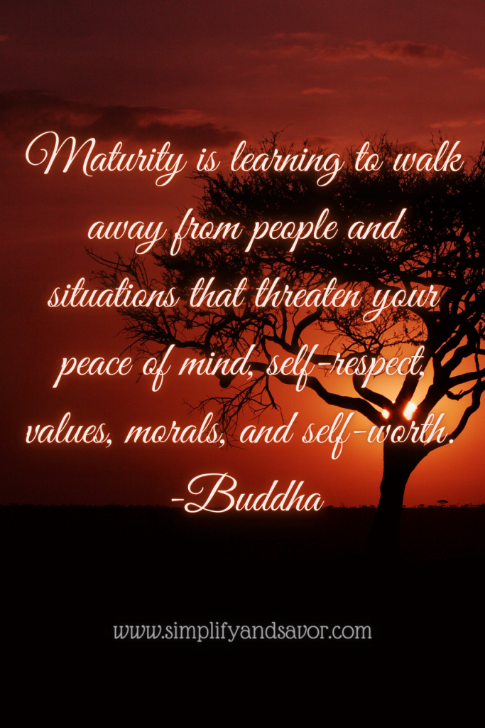 Maturity is learning to walk away from people and situations that threaten your peace of mind, self-respect, values, morals, and self worth. -Buddha